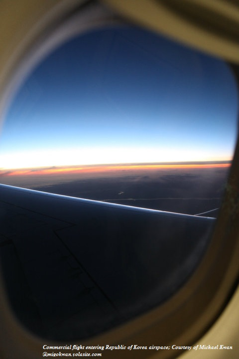 Commercial flight entering Republic of Korea airspace