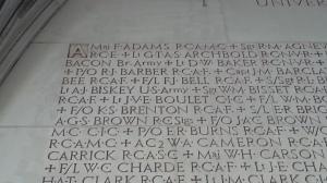 Captain Roland Bacon's name is engraved on the Soldier's Tower in University of Toronto