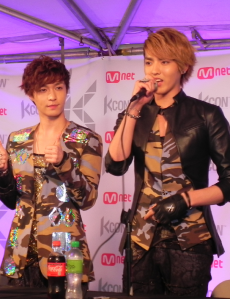 Kris (right) and bandmate Zhang Yixing at KCON 2012, LA