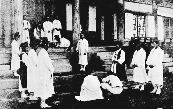A local governor house in Old Korea. The image depicts a court hearing scene.