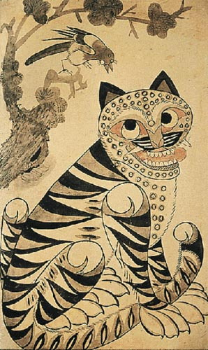 """Kkachi Horangi,"" or ""Magpie Tiger"" is usualy used as a charm to attract good luck and health in the new years."