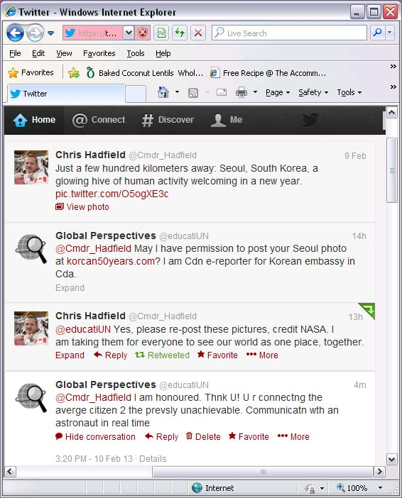 Twitter chat with Chris Hadfield