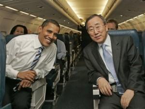Ban Ki-Moon et le Président Obama en classe économique!