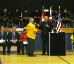 Mr. Guy Black receiving a blessing for stones presented.