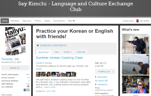 "Screen-cap of ""Say Kimchi"" page on Meetup.com"