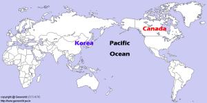 world map_Canada and Korea