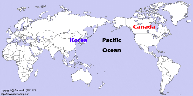 world map_Canada and Korea