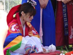 Nous avons eu droit à la célébration (fictive) d'un mariage traditionnel coréen! Très intéressant!