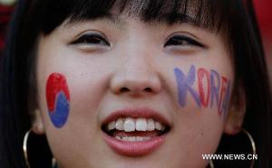 Une fan de l'équipe de Corée durant la Coupe du monde de 2012