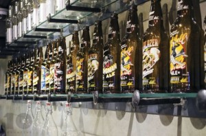 The various Missions Springs Brewing Company's craft beers proudly displayed.