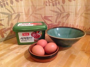 Korean seasoned bean paste makes eggs tastier.