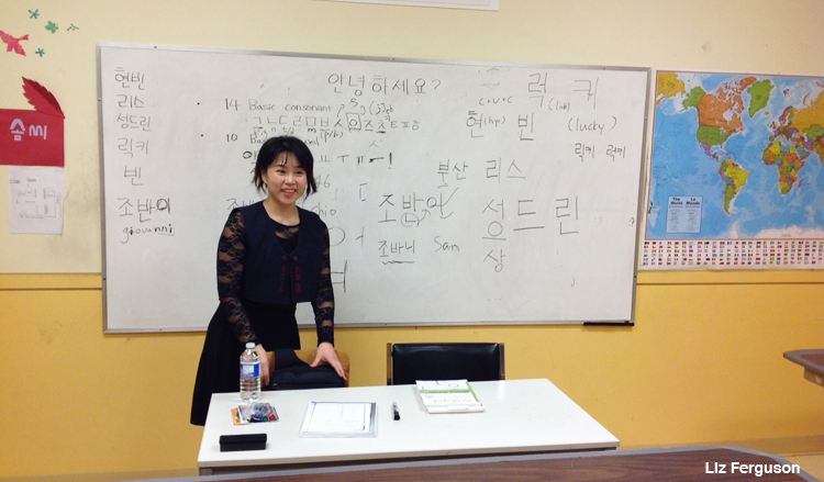 Chang In Young teaches Level One (Beginners) classes at the Ganada Korean Language School in NDG. (Photo by Liz Ferguson)
