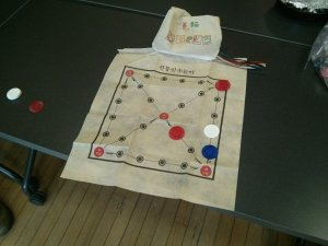 The yutnori game board.