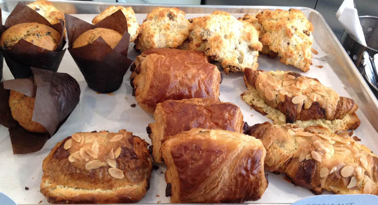 Muffins, scones, chocolatines, and croissants are among the sweet treats available at Station W in Verdun. (Liz Ferguson photo)