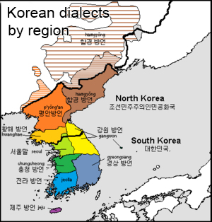 Korean dialects by region