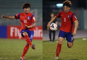 Ji So-Yun and Park Eun-Sun. Photo by Footballjournal.co.kr
