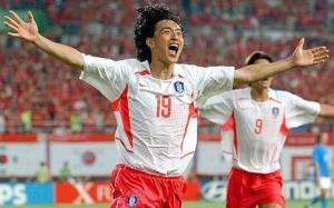 Ahn Jung Hwan celebrating his goal against Japan at the FIFA World Cup.